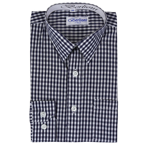 Boy's Checkered Dress Shirt | N°AW-1087-5 | Navy