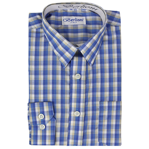 Boy's Checkered Dress Shirt | N°AW-572 | Light Blue Beige