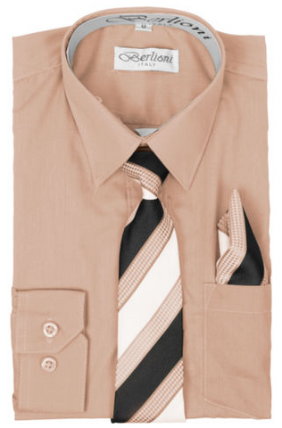 Boy's Dress Shirt/Necktie/Hanky | N°735 | Blush