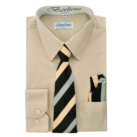 Boy's Dress Shirt/Necktie/Hanky | N°712 | Khaki