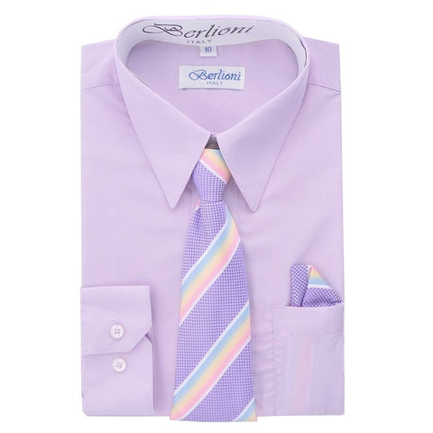 Boy's Dress Shirt/Necktie/Hanky | N°711 | Lilac