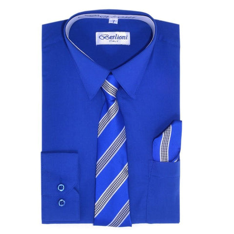Boy's Dress Shirt/Necktie/Hanky | N°733 | Royal