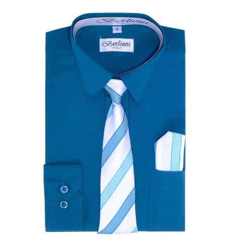 Boy's Dress Shirt/Necktie/Hanky | N°727 | Teal