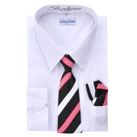 Boy's Dress Shirt/Necktie/Hanky | N°701 | White