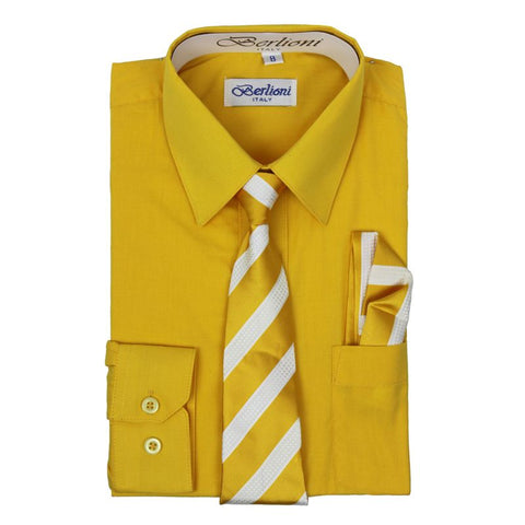 Boy's Dress Shirt/Necktie/Hanky | N°728 | Gold