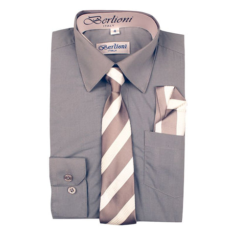Boy's Dress Shirt/Necktie/Hanky | N°720 | Light Grey