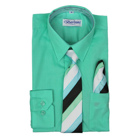 Boy's Dress Shirt/Necktie/Hanky | N°736 | New Aqua