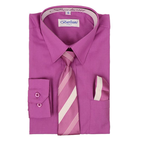 Boy's Dress Shirt/Necktie/Hanky | N°719 | Orchid