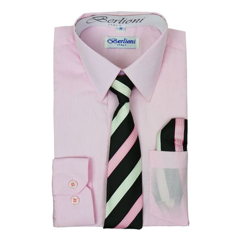 Boy's Dress Shirt/Necktie/Hanky | N°703 | Pink