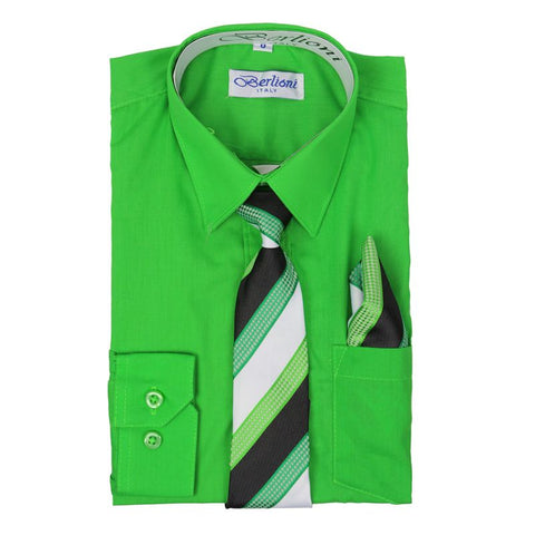 Boy's Dress Shirt/Necktie/Hanky | N°715 | Apple Green