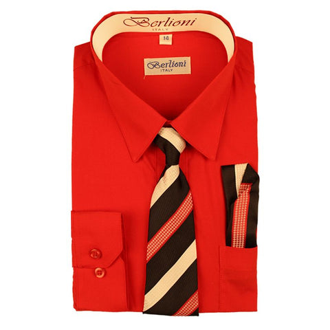 Boy's Dress Shirt/Necktie/Hanky | N°708 | Red