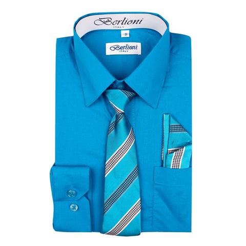 Boy's Dress Shirt/Necktie/Hanky | N°707 | Turquoise