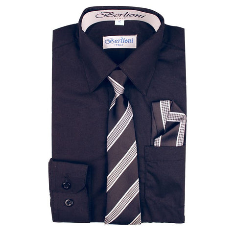 Boy's Dress Shirt/Necktie/Hanky | N°725 | Black