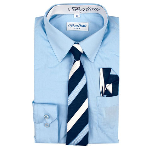 Boy's Dress Shirt/Necktie/Hanky | N°704 | Light Blue