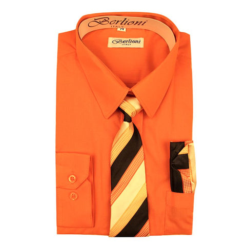 Boy's Dress Shirt/Necktie/Hanky | N°706 | Orange