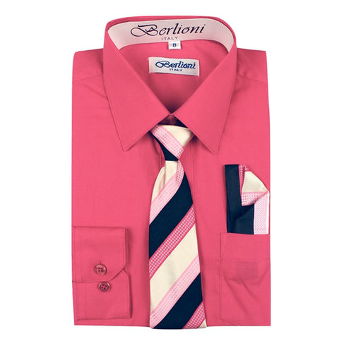 Boy's Dress Shirt/Necktie/Hanky | N°731 | Coral