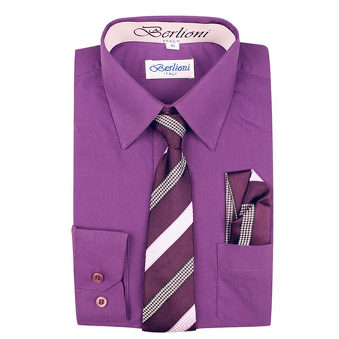 Boy's Dress Shirt/Necktie/Hanky | N°723 | Purple