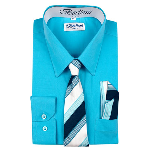 Boy's Dress Shirt/Necktie/Hanky | N°734 | Aqua