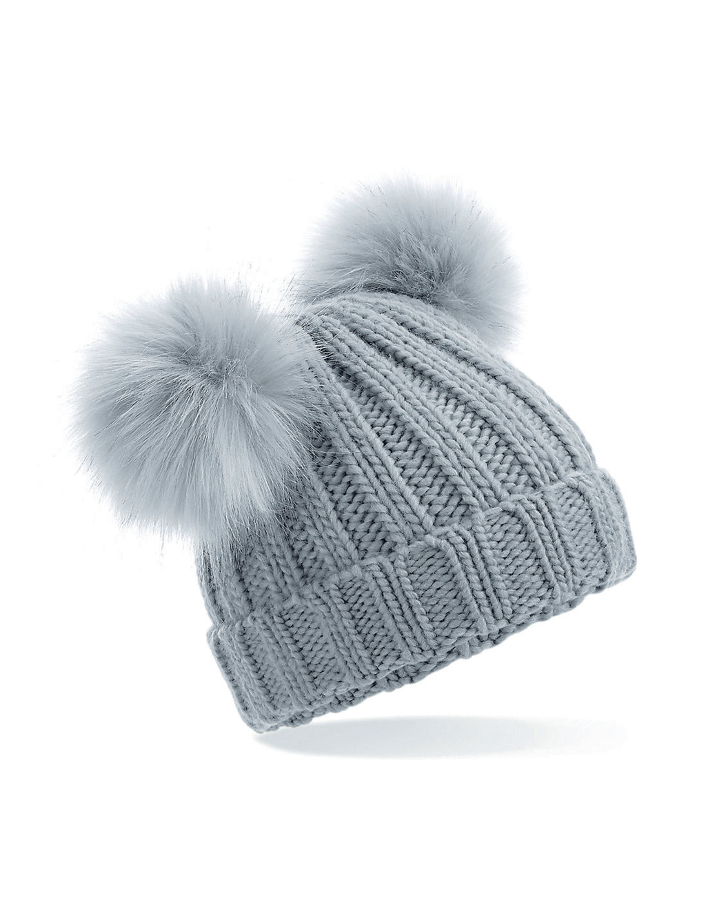 Double Pom Pom Hat - Grey