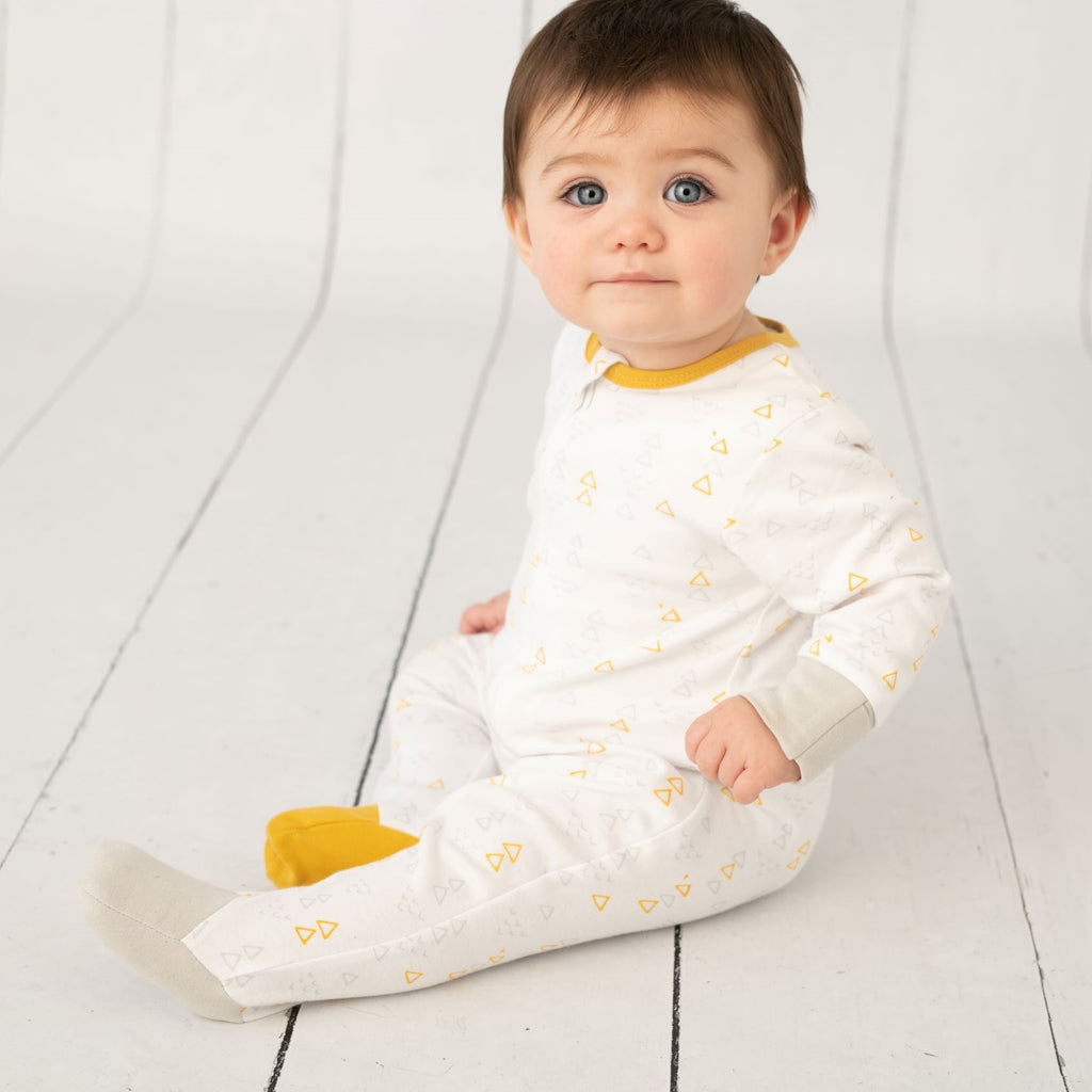 Scandi Mustard & Grey Sleepsuit