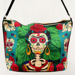 Day of the Dead Frida Kahlo skeleton design in greens and red, silkscreened on cotton handbag