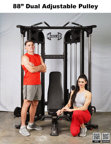 """Muscle D 88"""" Dual Adjustable Pulley Functional Trainer Gym Machine - Barbell Flex"""