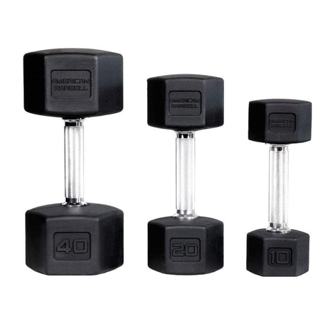 American Barbell Weight Training Hex Rubber Dumbbells Pairs and Sets - Barbell Flex