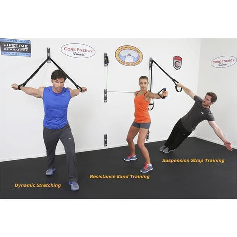 Core Energy Fitness Anchor Gym H2 Unit Concrete Wall-Mounted Functional Training Hardware System - Barbell Flex