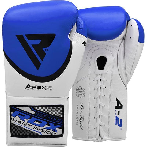 RDX A2 Fight Lace Up Leather Pro Boxing Gloves - Barbell Flex