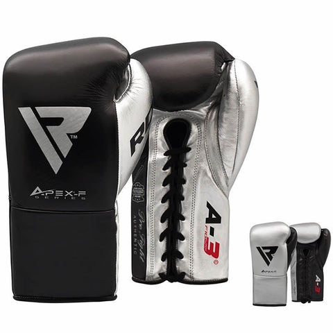 RDX A3 Fight Lace Up Leather Pro Boxing Gloves - Barbell Flex