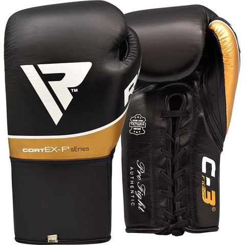 RDX C3 Fight Lace Up Leather Pro Boxing Gloves - Barbell Flex