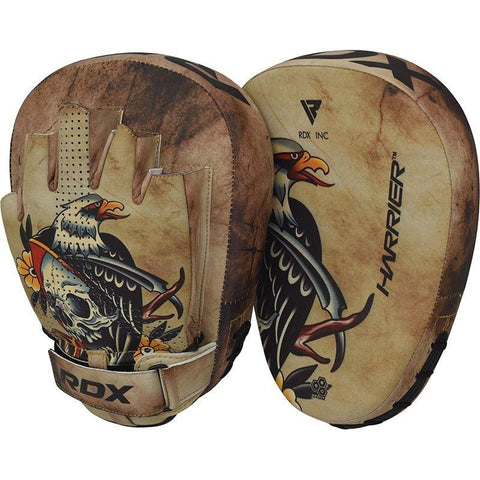 RDX HARRIER Tattoo Boxing Training Punch Mitts Curved Focus Pads - Barbell Flex