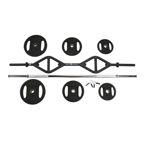 American Barbell T-Grip Club Strength Lite & Straight Bar Weight Plates Spring Collars Set