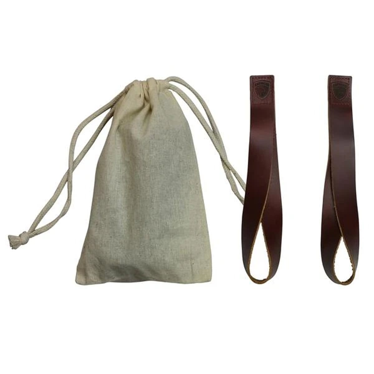 American Barbell Leather Lifting Tear Drop Loop Straps with Cloth Bag - 1 Pair - Barbell Flex