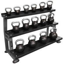 Load image into Gallery viewer, TAG Fitness 3 Tier Steel Shelve Flat Tray Kettlebell Storage Rack - Barbell Flex