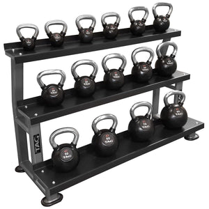TAG Fitness 3 Tier Steel Shelve Flat Tray Kettlebell Storage Rack - Barbell Flex