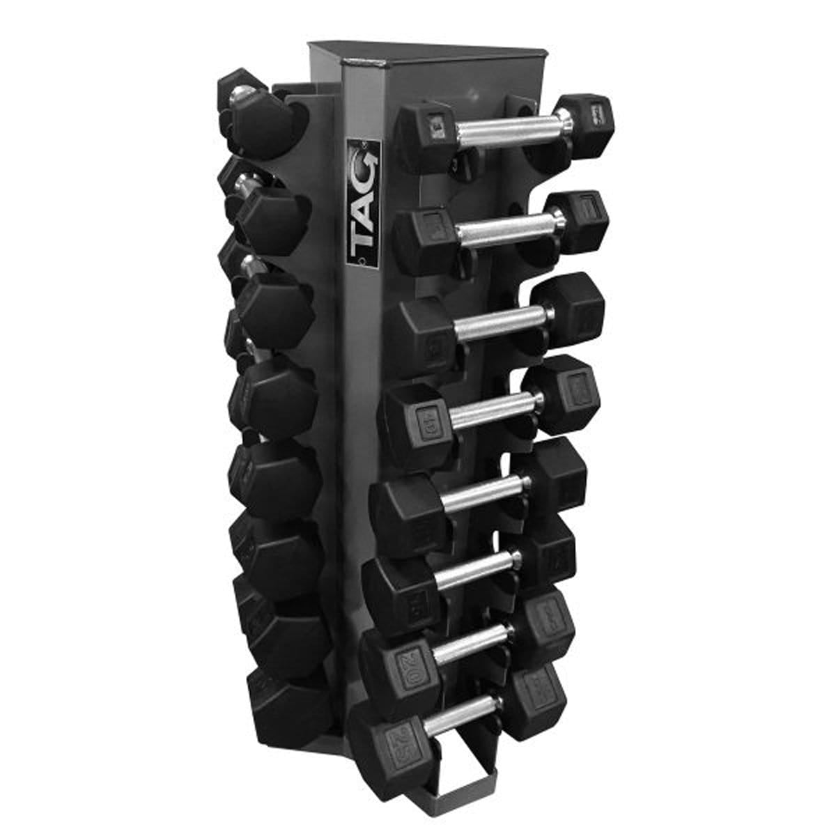 TAG FITNESS 8-Pairs Vertical Hex Dumbbells Storage Rack - Barbell Flex