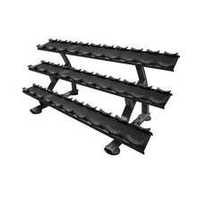Load image into Gallery viewer, TAG Fitness 3-Tier 15-Pairs Round Dumbbell Saddle Rack - Barbell Flex