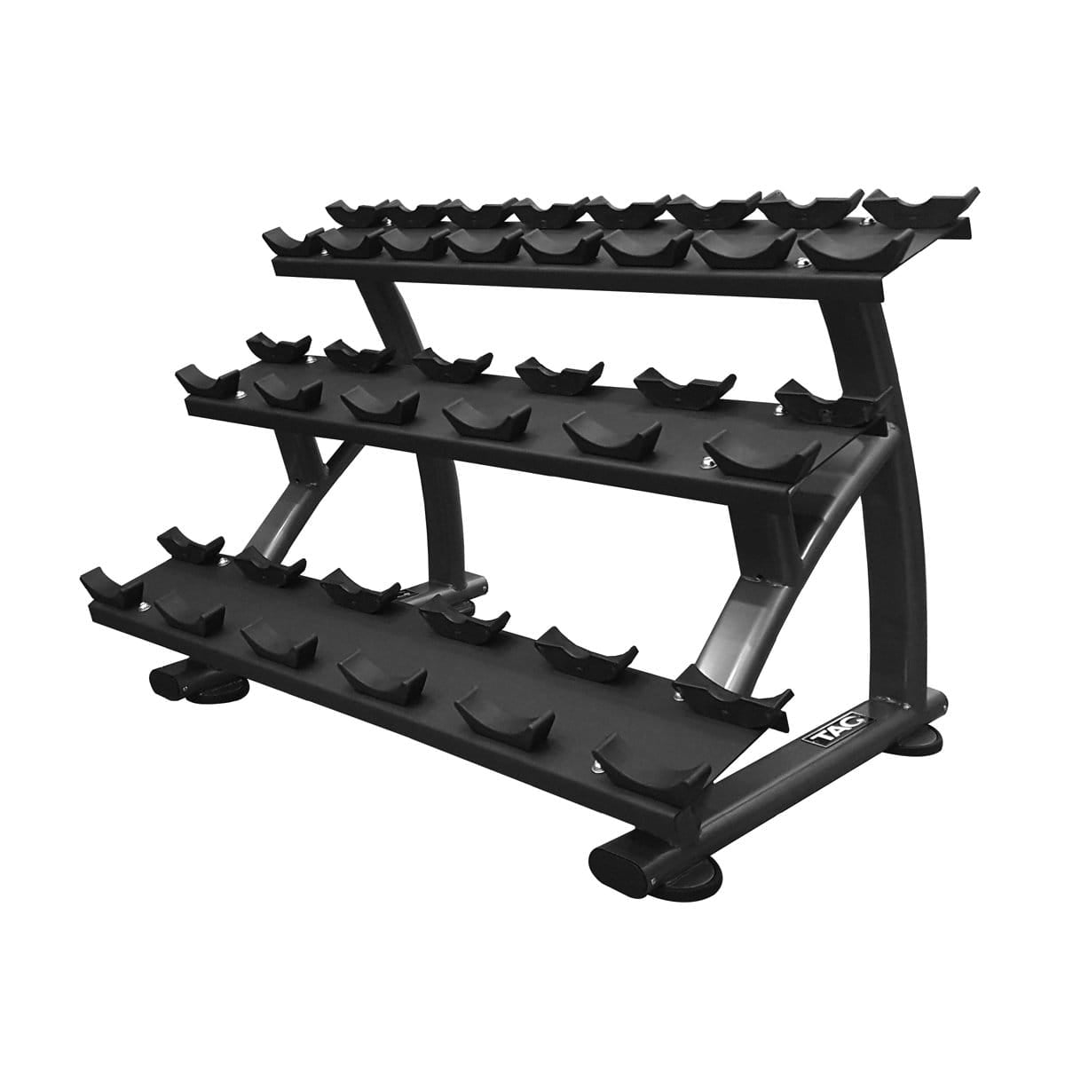 TAG FITNESS 3-Tier 10 Pairs Round Dumbbell Saddle Rack - Barbell Flex