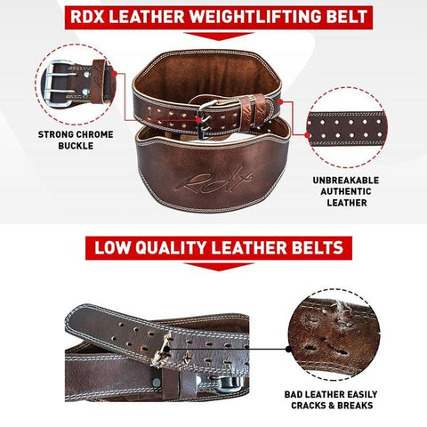RDX 6 Inch Brown Padded Leather Weightlifting Belt - Barbell Flex