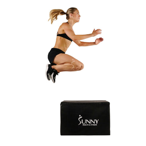 Sunny Health & Fitness Foam Plyo Box, 440 lb Weight Capacity w/ 3 in 1 Height Adjustment - 30