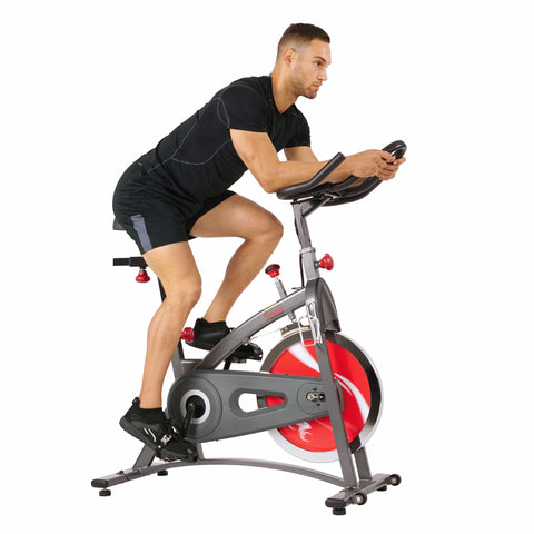Sunny Health & Fitness Belt Drive Indoor Cycling Bike Exercise Bike w/ LCD Monitor - Barbell Flex