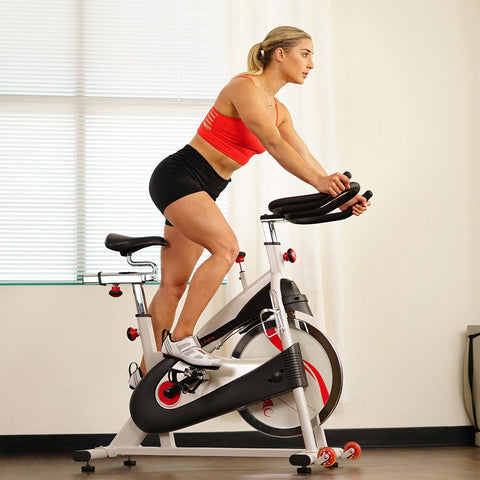 Sunny Health & Fitness Clipless Pedal Premium Indoor Cycling Exercise Bike with Belt Drive - Barbell Flex