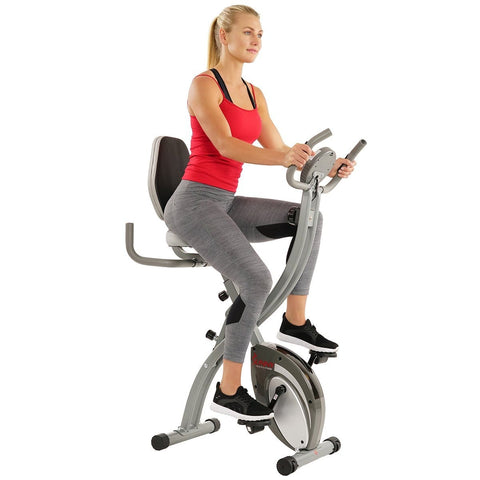 Sunny Health & Fitness Folding Magnetic Semi Recumbent Upright Bike, Comfort XL w/ High Weight Capacity and Pulse Rate - Barbell Flex