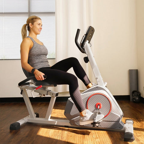 Sunny Health & Fitness Magnetic Recumbent Exercise Bike with Silent Belt Drive, Performance Monitor, BMI Calculator - Barbell Flex