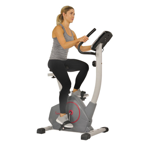Sunny Health & Fitness Upright Exercise Bike with Performance Monitor, Device Holder, 275 LB Max User Weight - Barbell Flex