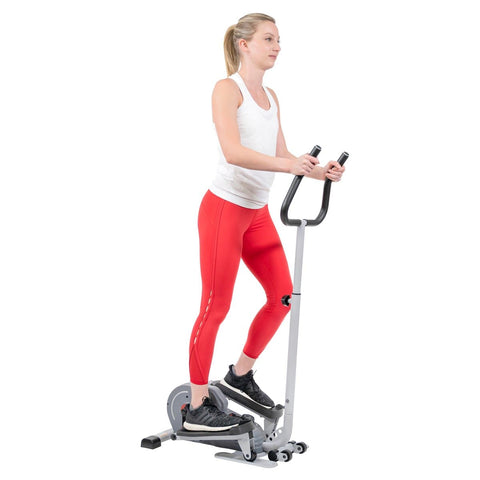 Sunny Health & Fitness Magnetic Standing Elliptical with Handlebars - Barbell Flex