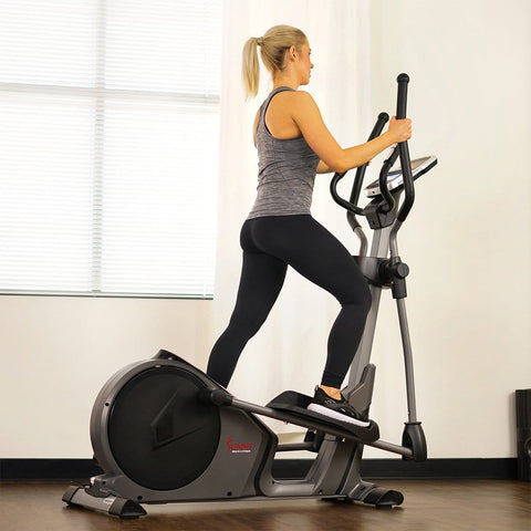 Sunny Health & Fitness Magnetic Elliptical Machine w/ Device Holder, Programmable Monitor and Heart Rate Monitoring - Barbell Flex