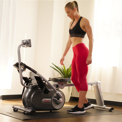 Sunny Health & Fitness Full Motion Magnetic Rowing Machine Rower w/ LCD Monitor - Barbell Flex
