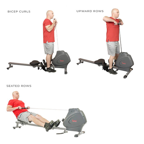 Sunny Health & Fitness Multifunction SPM Magnetic Rowing Machine - Barbell Flex